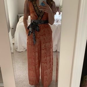 Akemi + Kin Orange/blue metallic mosaic jumpsuit 0